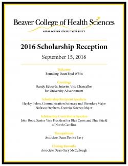 BCHS Scholarship Reception 2016 Program pg 1