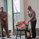 Dr. Susan Roggenkamp presents Fred Whitt with going away present