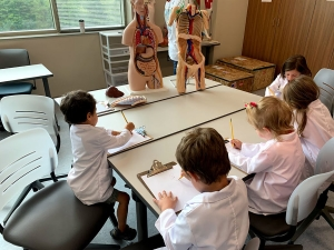 Young scientists in anatomy lab at Leon Levine Hall