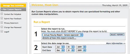 Run a report screenshot